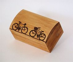 Woodburned Bicycle Lovers Small Pine Box by elizalenore on Etsy, $49.00. Another ring box option..