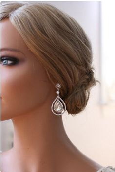 Copyright design by Ornent  Unique, vintage inspired double crystal teardrop earrings. Perfect bridal earrings and jewelry for any occasion. Post backs.