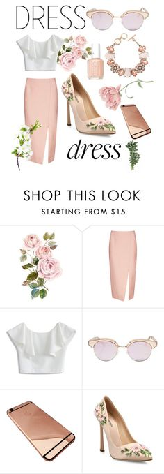 """Spring Flowers"" by underwood-sarah ❤ liked on Polyvore featuring C/MEO COLLECTIVE, Chicwish, Le Specs, Giambattista Valli, Essie and ShoeDazzle"