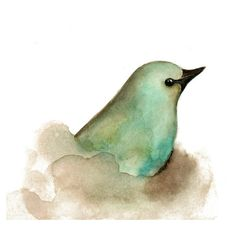 Aqua Bird Print from my Original Watercolor Painting ❤ liked on Polyvore