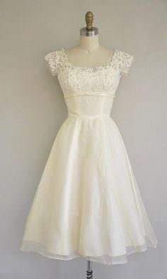 Vintage 1950s Dress / 50s Tea Length Lace Chiffon Dress / 1950s Angelic Sweet Chiffon Dress