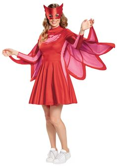 Use your Super Owl Night Eyes to see in the dark and save the day! With this cute costume, you'll transform into Owlette, the high flying hero of PJ Masks! Join Catboy and Gekko for a night of crime fighting fun! Wear this costume to transform into O. Classic Halloween Costumes, Cute Costumes, Adult Halloween, Adult Costumes, Costumes For Women, Pirate Costumes, Women Halloween, Movie Costumes, Halloween 2018