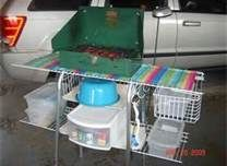 camping organization ideas -  using a walker and wire closet shelving for a campsite kitchen