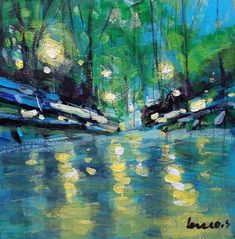 "Daily+Paintworks+-+""Refection+at+the+park""+-+Original+Fine+Art+for+Sale+-+©+salvatore+greco"