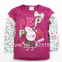 Aliexpress.com : Buy FREE SHIPPINGA F4103# Nova kids wear 5 pieces/lot 18m 6yrs tunic top peppa pig embroidery for girl long sleeve t shirts from Reliable girl long sleeve t-shirts suppliers