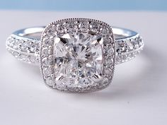 2.00 ctw Cushion Cut Diamond Engagement Ring G VS2-SI1. For sale for $6,990 on our website www.bigdiamondsusa.com or call us at 1-877-795-1101 for more information.