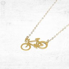 Bicycle necklace statement necklace long necklace gold by ByYaeli