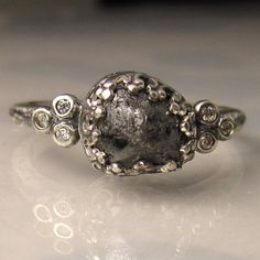 Rough Uncut Black Diamond Ring  Recycled Sterling by artifactum, $548.00