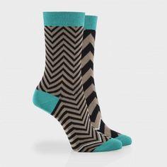 Paul Smith Women's Socks - Elephant Grey And Green Zigzag Odd Socks
