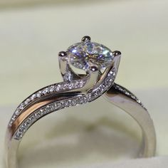 925 Sterling Silver 1 Ct Round Cut Solitaire Diamond Engagement Rings For Women #JewelsForum #EngagementRing #Engagement