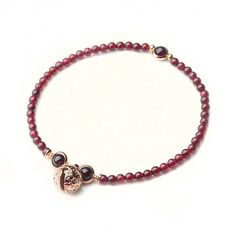 Garnet Beaded Anklet With Bell