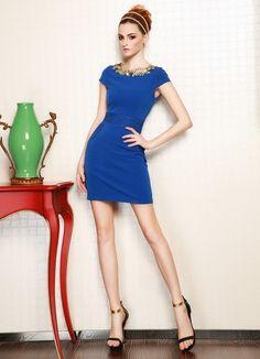 Newly Summer Golden Flowers Collar Lace Dress Sapphire