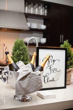 Pop Fizz Clink poster for Camille Styles Holiday Party with Kathryn Murray Calligraphy