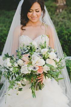 Pretty summer bouquet: http://www.stylemepretty.com/california-weddings/goleta/2016/04/04/elegant-santa-barbara-wedding-with-a-must-see-custom-lazaro-gown/ | Photography: onelove Photography - http://www.onelove-photo.com/