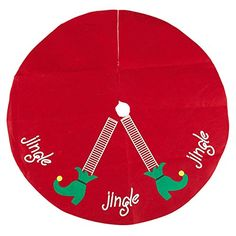 Christmas Tree Skirt Elf Legs  Xmas Tree Decoration Felt Christmas Tree Dcor Red  30 x 01 x 30 Inches ** Be sure to check out this awesome product.