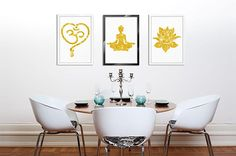 Meditation Yoga Print, Set of 3, Spiritual Posters Canvas Art Golden Home Decor Yoga Studio Decor Lotus Flower Yoga Symbol Giclee Wall Decor