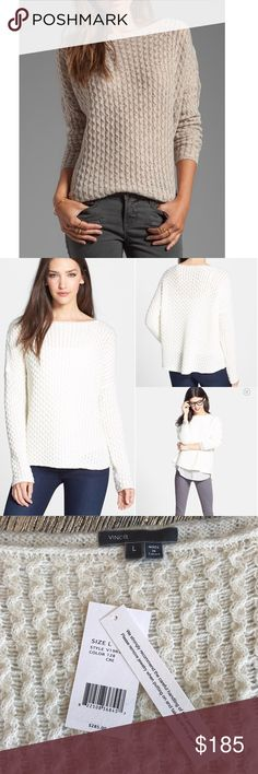 VINCE. New $285 knit sweater New with tags Vince. $285 knit sweater in cream color. A classically knit sweater patterned in mini cables stays current with a softly slouched silhouette and a flattering boat neck.  Sheer; base layer recommended. 50% merino wool, 20% polyacrylic, 20% alpaca wool, 10% camel hair. Size L. Reasonable offers are welcome Vince Sweaters