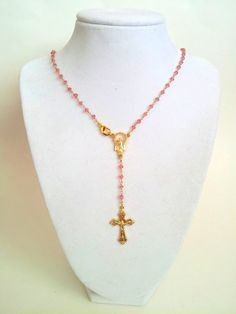 Rose Quartz Gold Rosary Necklace Womens by divinitycollection, $89.00