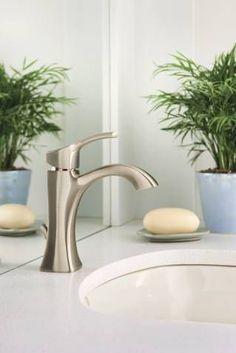 350--Voss brushed nickel one-handle high arc bathroom faucet - 6903BN - Moen