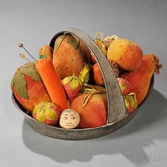 Collection of Seventeen Fruit-shaped Pincushions in Tin Handled Tray, America, century, ten cloth strawberries of various sizes, t Needle And Thread, Needle Book, Sewing Tools, Sewing Notions, Bowl Fillers, Vintage Velvet, Sewing Accessories, Fruit And Veg, Vintage Textiles