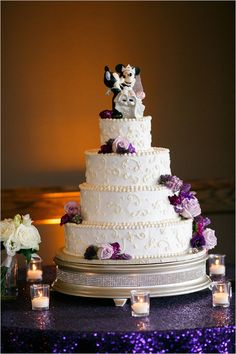 Mickey And Minnie Mouse Topped Wedding Cake