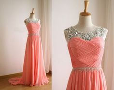 Image of Pretty Handmade Beaded Coral Long Chiffon Prom Dress, Prom Dresses, Formal Dresses