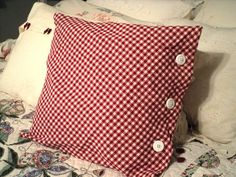 red and white shabby chic pillow. $15.00, via Etsy.