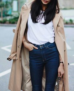 A trench coat goes with any outfit. We love it paired with a simple white tee and dark jeans.