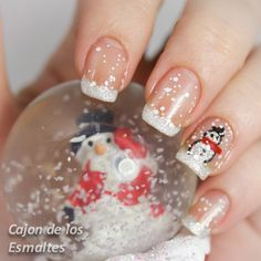 Christmas and winter nails - Snow french manicure and snowmen