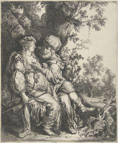 Pieter Lastman   Juda en Tamar, Pieter Lastman, 1593 - 1633   Onder een boom zit Tamar op schoot van haar schoonvader Juda. Tamar is vermomd als hoer en draagt een sluier over haar gezicht. In haar hand houdt ze de staf vast die ze samen met een ring, een armband en een geitebokje als onderpand van Juda had gekregen in ruil voor gemeenschap.