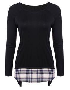 Round Neck Raglan Long Sleeve Plaid Patchwork Asymmetrical T-Shirt