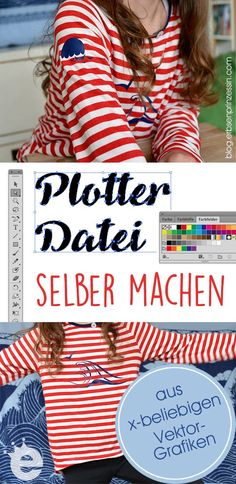 Plottermotiv selber machen: Anleitung - Vektordatei für den Plotter umwandeln Silhouette Mint, Silhouette Curio, Silhouette Portrait, Silhouette Cameo Tutorials, Scan And Cut, Diy Pins, Print And Cut, T Shirt Diy, Textile Design
