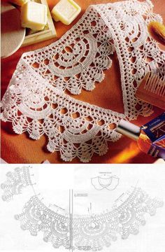 Asian language site with this Collar pattern and other thread crochet patterns at site Crochet Collar Pattern, Col Crochet, Crochet Lace Collar, Crochet Motifs, Crochet Diagram, Crochet Chart, Thread Crochet, Crochet Scarves, Irish Crochet