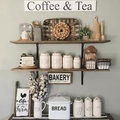 Open Shelves | Neutral Kitchen | Rae Dunn | Tobacco Basket | Cotton Stems