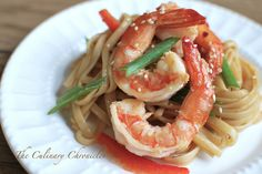 Spicy Prawns with Ginger Peanut Noodles  via The Culinary Chronicles blog