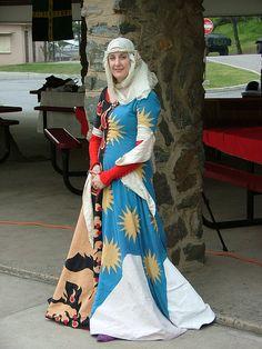 Fun parti-color cotehardie. Inspiration for ceremonial paladin robes.