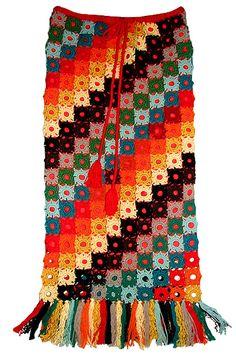 Crochet Skirt Of Small Square Motifs