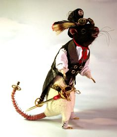 Gaslight Steampunk Rat OOAK Artist Needle felt Sculpture by Stevi T.. $1,500.00, via Etsy.