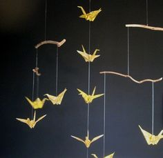 Twig and origami crane mobile