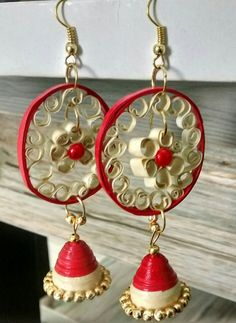 Red and sandal earring