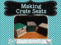 Crate Seats!!!!  My First Pinterest Project for My Classroom! First Grade Classroom, New Classroom, Classroom Setting, Classroom Setup, Classroom Design, Preschool Classroom, Classroom Organization, Classroom Management, Kindergarten