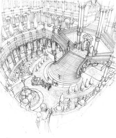 I had tons of fun in the grand staircase piece :D Highly inspired by the Grand Opera in Paris. (Hopefully one day I get to visit in person!) The other two pieces are from the same class too, leaning more towards fantasy worlds. / Arch 1 with Gary. Architecture Drawing Sketchbooks, Architecture Concept Drawings, Art And Architecture, Perspective Drawing Lessons, Perspective Art, Art Sketches, Art Drawings, Desenhos Harry Potter, Interior Design Sketches