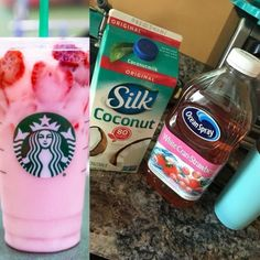 Caffeine free Starbucks pink drink and milk booster! - Caffeine free Starbucks pink drink and milk booster! Drinks Caffeine free Starbucks pink drink and milk booster! Healthy Starbucks Drinks, Starbucks Secret Menu Drinks, Starbucks Recipes, Coffee Recipes, Healthy Drinks, Healthy Smoothies, Starbucks Hacks, Low Carb Drinks, Pink Drinks