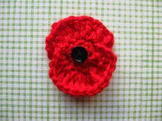 crocheted poppy