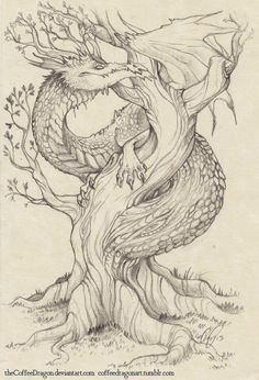 The Tree Dragon by theCoffeeDragon.deviantart.com on @deviantART