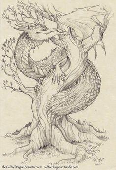 The Tree Dragon by theCoffeeDragon.deviantart.com on @deviantART