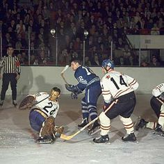 Legends of Hockey - Gallery - The 1968 NHL All-Star Game, netminder Terry Sawchuk fends off Maple Leafs Peter Stemkowski