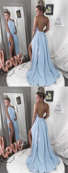 Halter Prom Dress,Blue Prom Dresses,Backless Prom Dress,Sexy Evening Dress with Split,Chiffon Prom Dresses #lightblue #chiffon #backless #halter #split #okdresses