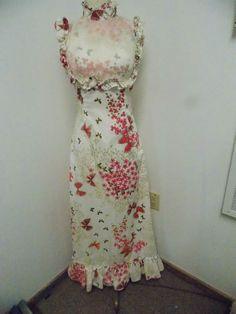 Vintage 1960s Era Floral & Butterfly Print Cotton Floral Maxi Dress