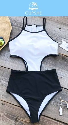 Cheer for your weekend in Cupshe Graceful Swan Zipper One-piece Swimsuit. White and Black color sets the perfect mood everyday, one-piece style and padding bra providing you great support for feeling cozy to move around. Pack for your next leave, you will fall in love with it~ :)
